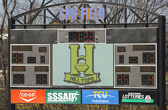 Saskatoon Hilltops - Final Score on the new scoreboard at the playoff game between the  Winnipeg Rifles and Saskatoon Hilltops on October 19, 2014 at the Saskatoon Minor Football Field