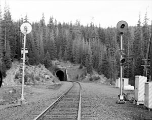 Oregon Eastern Railway - West portal of Tunnel No. 3 (Summit Tunnel), beneath Pengra Pass. Built by SP in 1925.