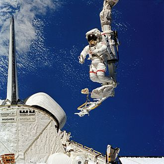 STS-41-B EVA Bruce McCandless II with Manipulator Foot Restraint.jpg