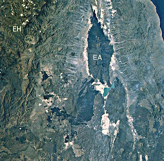 Erta Ale - Erta Ale volcano (EA) and Ethiopian Highlands (EH) as seen from space