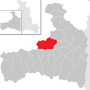 Location of the municipality of Saalbach-Hinterglemm in the Zell am See district (clickable map)