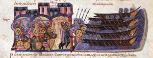 Al-Muktafi - The Sack of Thessalonica by Leo of Tripoli, miniature from the Madrid Skylitzes