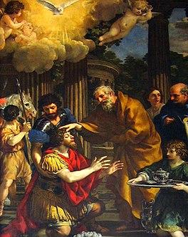 Paulus krijgt bij Ananias het gezichtsvermogen terug (Handelingen 9:18)