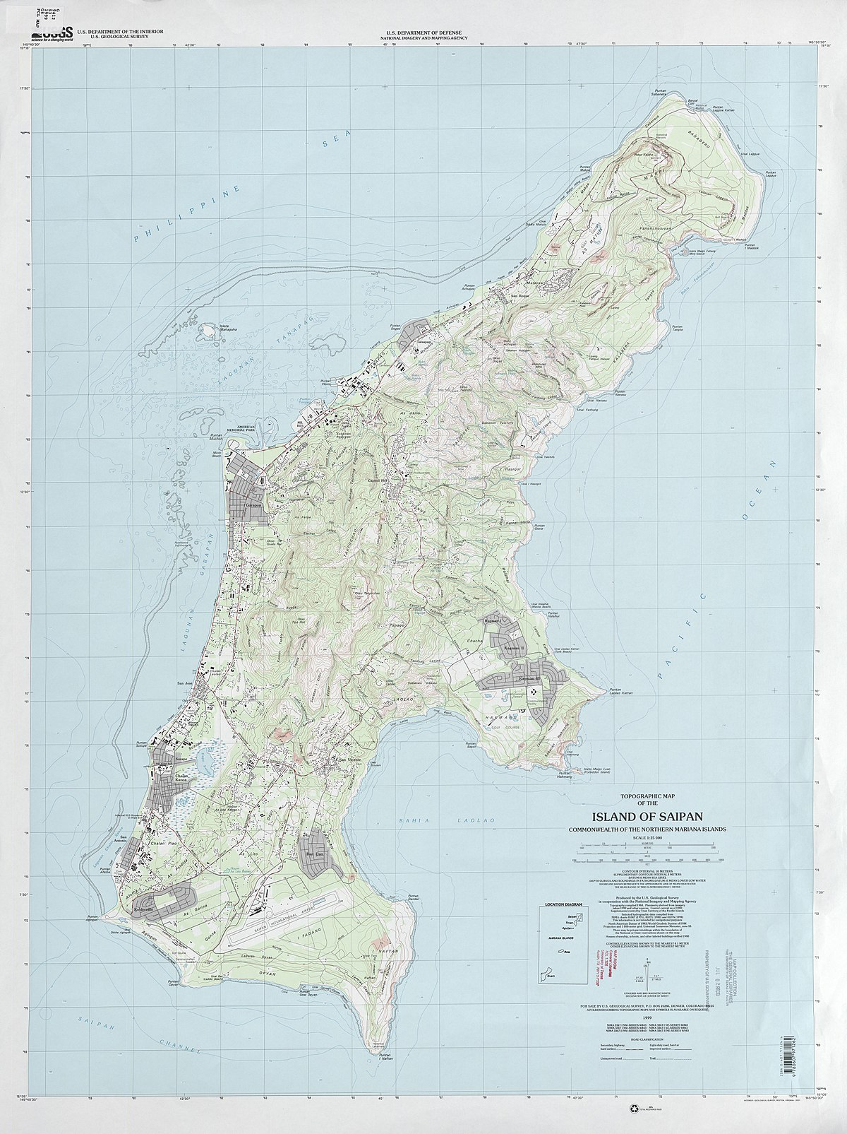 Map Of The Island Of Saipan