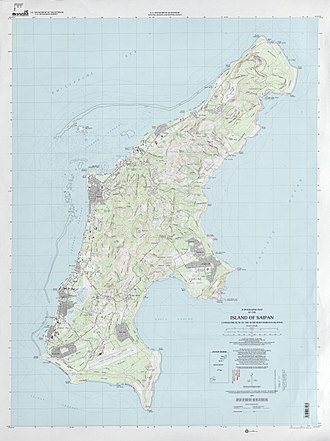 Saipan - Topographic map of Saipan Island