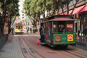 Cable car number thirteen at the Powell Street terminus with another car in the background