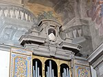 San domenico, fiesole, int., soffitto 06 stemma domenicano.JPG