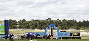 Sandown Racecourse - Image: Sandown Racecourse finish post 1a