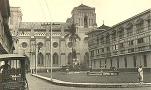 Intramuros - Plaza Santo Tomas in Intramuros, Manila; Where the Santo Domingo Church, Colegio de Santa Rosa and the original University of Santo Tomas where built during the Spanish era.