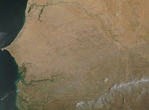 Outline of Senegal - An enlargeable satellite image of Senegal