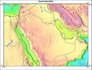 Geography of Saudi Arabia - Topography of Saudi Arabia and surrounding countries