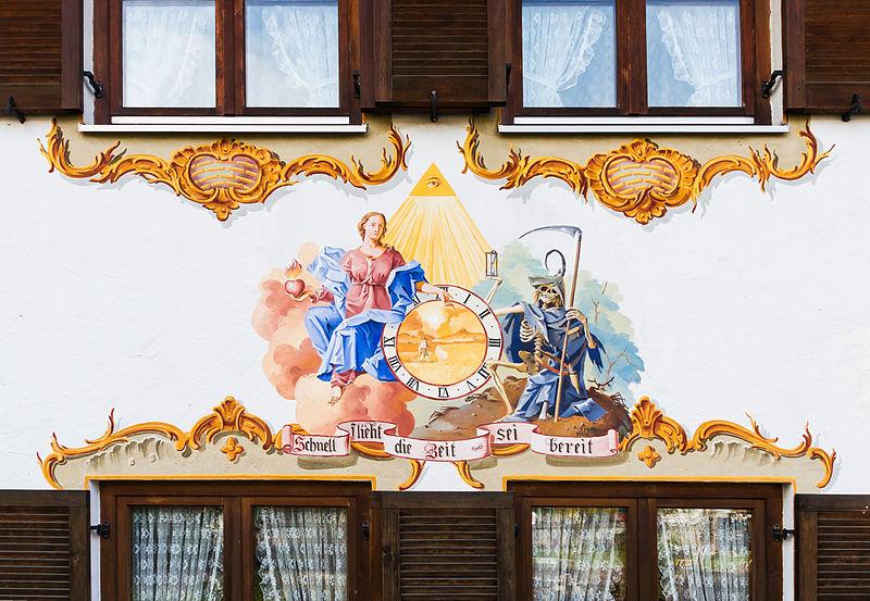 File:Schnell flieht die Zeit, sei bereit, mural, Oberammergau, Bavaria, Germany.jpg