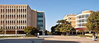 University of California, Irvine School of Physical Sciences - The Physical Sciences plaza at UC Irvine, with Rowland Hall on the left and Reines Hall on the right. The buildings are named after UCI faculty and Nobel Prize winners F. Sherwood Rowland and Frederick Reines