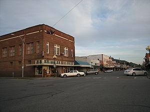 Sedro-Woolley, Washington - Shops on Metcalf Street, downtown Sedro-Woolley.
