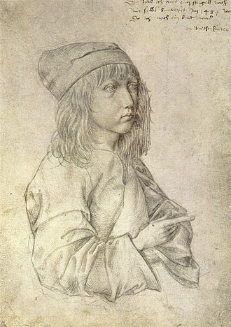 Albrecht Dürer - Self-portrait silverpoint drawing by the thirteen-year-old Dürer, 1484