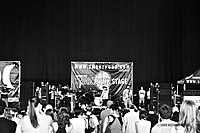 Black-and-white photo of a concert