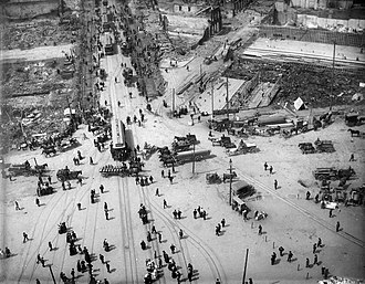 1906 San Francisco earthquake - View from the Ferry Building tower, southwest down on Market Street