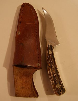 """Button (poker) - Knife with a deer-horn handle: the original """"buck"""""""