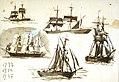 Sheet of studies of various sailing vessels, annotated 1713, 1714, 1715 RMG PV2971.jpg