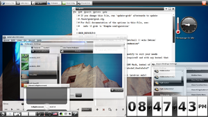 Enlightenment E17, with former default theme Black&White and GTK+2 programmes running using a GTK+2 port of the theme