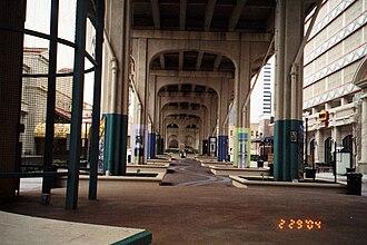 Transportation in Shreveport - Underside of Texas Street Bridge (the Long–Allen Bridge) in the Shreveport riverfront district