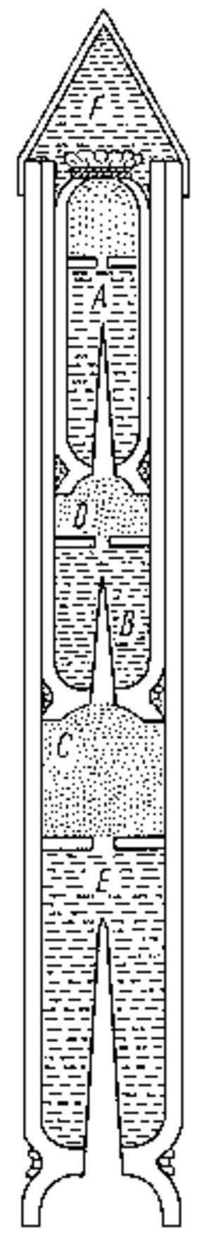 Casimir Siemienowicz - Siemenowicz multi-stage rocket, from his Artis Magnae Artilleriae pars prima