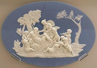 Jasperware - Silenus and Boys, after Francois Duquesnoy, c. 1778, solid pale blue jasper plaque.