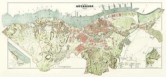History of Gothenburg - 1888 map of Gothenburg