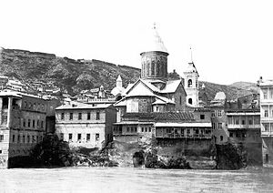 Tbilisi Sioni Cathedral - Sioni Cathedral as seen from the right side of the Kura River, 1870s