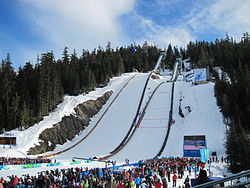 Whistler Olympic Park Ski Jumps under OL, februar 2010. Foto: Iwona Erskine-Kellie