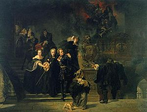 "Tre Kronor (castle) - Johan Fredrik Höckert's realistic and dramatic painting from 1866 of the Castle Fire ""Slottsbranden ... "", showing young King Charles XII of Sweden with his grandmother and sisters escaping ahead of his recently deceased father's body and his crown jewels coming down the stairs behind them."
