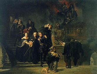 Johan Fredrik Höckert - Slottsbranden i Stockholm den 7 maj 1697, 1866, one of Höckert's most famous paintings