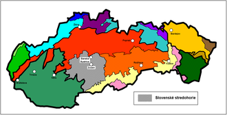 Divisions of the Carpathians - Location of Slovak mid-mountainous region in Slovakia (in gray)