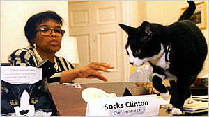 Clinton family - Socks with Clinton's secretary Betty Currie.