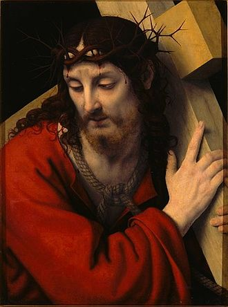 Crown of thorns - Christ with the cross and crown of thorns by Andrea Solario