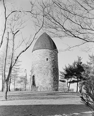 Powder House Square - The Old Powder House as it stood in 1935 atop the hill at Nathan Tufts Park, overlooking Powder House Square
