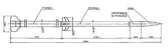 Sonda (rocket) - Diagram with Sonda I rocket dimensions.