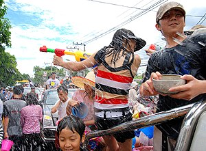 Songkran (Thailand) - Water fights along the west moat, Chiang Mai