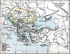 Turahan Bey - Map of southeastern Europe ca. 1444