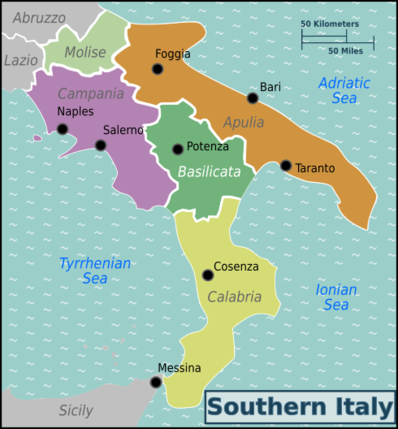 Southern Italy Map Southern Italy – Travel guide at Wikivoyage