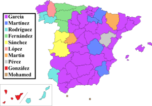 Spanish naming customs - Surname distribution: the most common surnames in Spain, by province of residence.