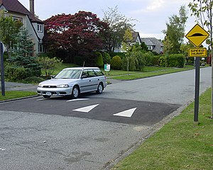 Speed hump with car (likely located in British...