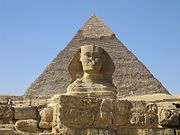 The Great Sphinx and the Pyramids of Giza, built during the Old Kingdom, are modern national icons that are  at the heart of Egypt's thriving tourism industry.