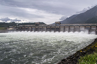 Bonneville Dam Dam in Columbia River Gorge National Scenic Area, Multnomah County, Oregon / Skamania County, Washington, United States