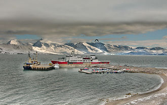 Svalbard - MS Nordsyssel, the Governor's vessel, docked at Ny-Ålesund