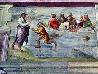 Miraculous catch of fish - Miraculous catch of 153 fish fresco in the Spoleto Cathedral, Italy (second miracle).