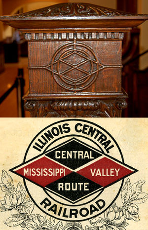 Springfield Union Station (Illinois) - Illinois Central's influence is still visible throughout the structure. One example is the detail trim on the wooden stair railing, crafted in the outline of the Illinois Central logo which was in use in 1898.