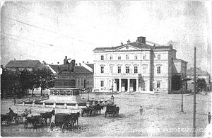 National Theatre in Belgrade - The National Theatre Square in Belgrade, in 1895
