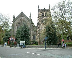 St Werburgh's Church, Derby - St Werburgh's Church, Derby, showing the body of the church on the left, and the conserved tower on the right