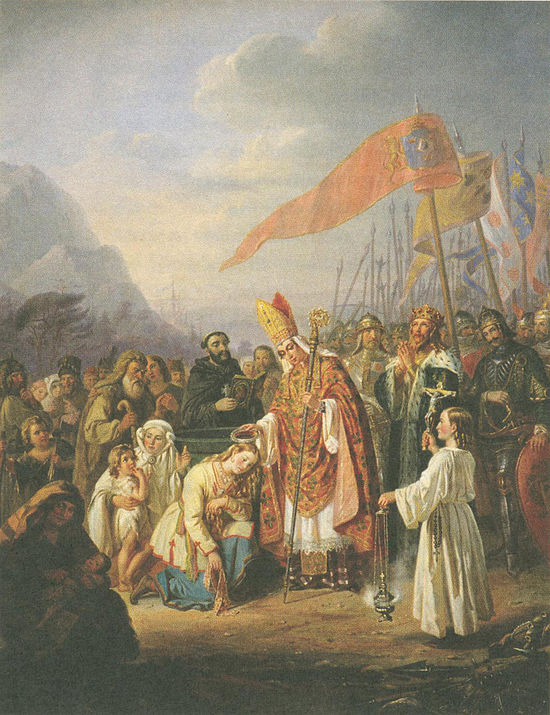 Bishop Henry baptizes the Finns at the spring of Kuppis, a pseudohistorical painting by R. W. Ekman from the 1850s in Turku cathedral St Henrik dop Kuppis R.W. Ekman.jpg